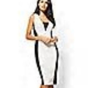 NY&Co XL Black & Winter White Colorblock Dress